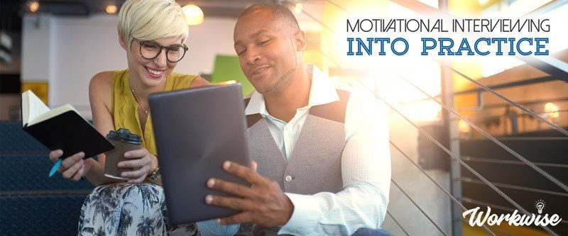 "Man and woman looking at a tablet, says ""Motivational Interviewing, Into Practice"""
