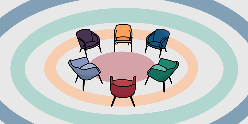 empty chairs in a circle, group therapy